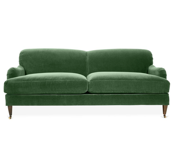 Emerald Green Velvet English Roll Arm Sofa