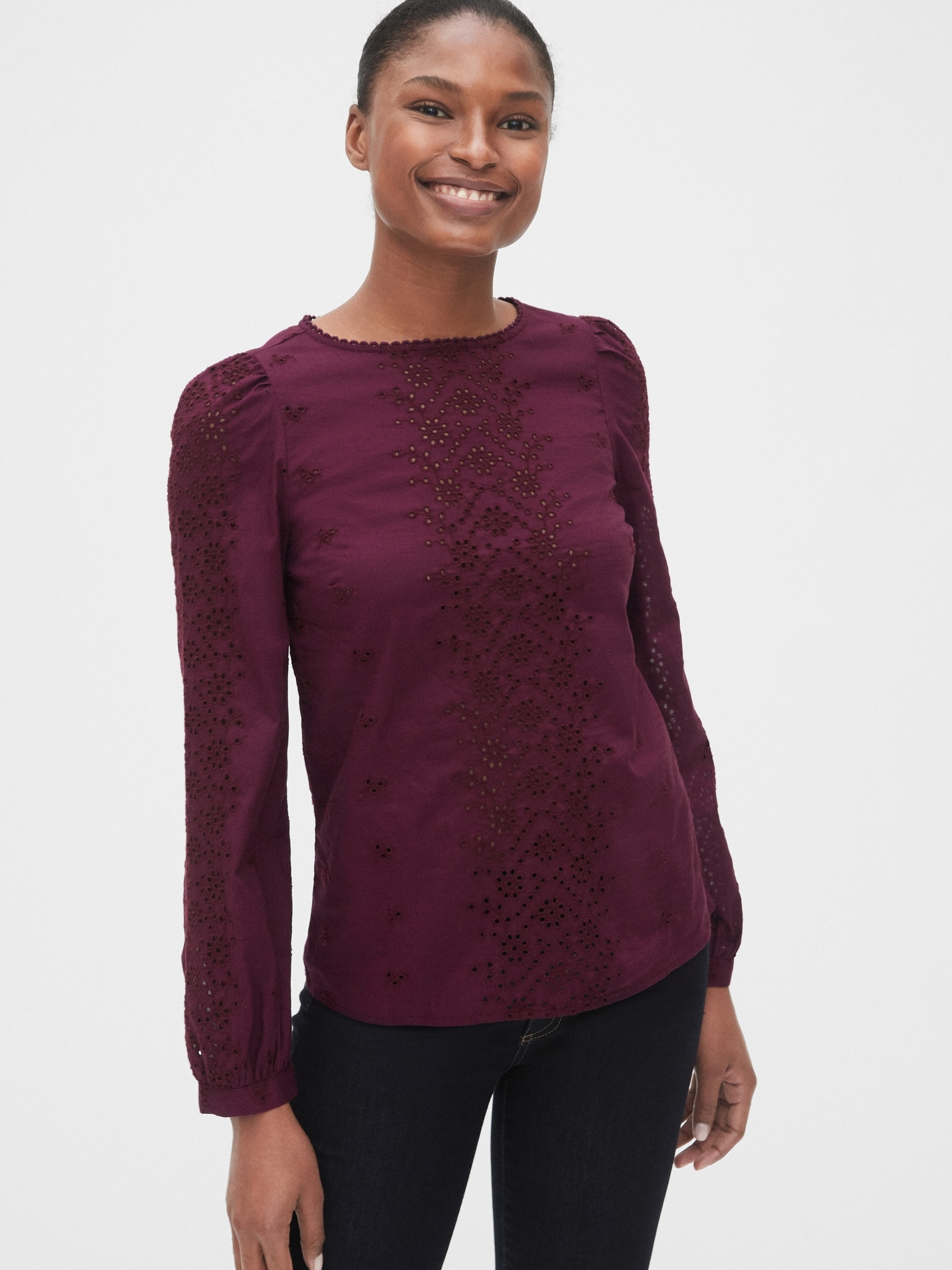 Burgundy Eyelet Embroidered Blouse