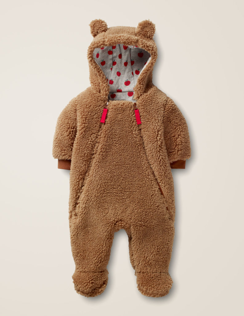 Faux Fur Sherpa Brown Bear Suit Baby