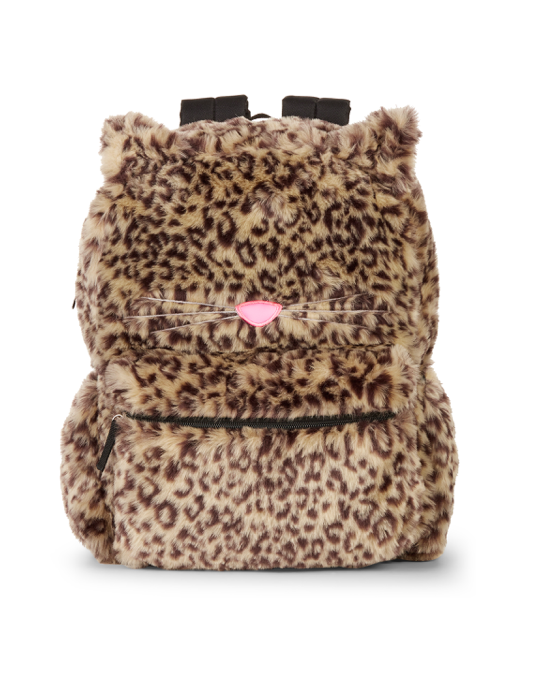 Faux Fur Leopard Print Kitty Cat Backpack