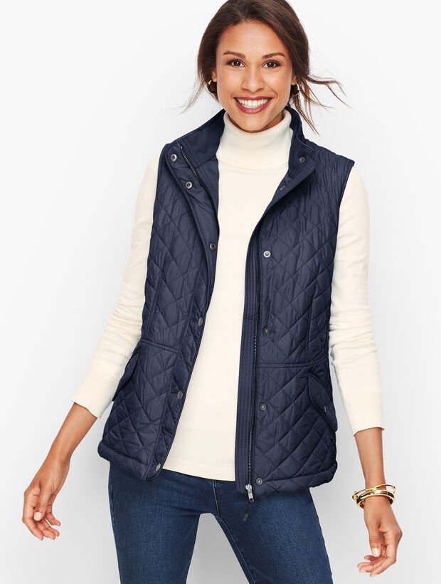 Quilted Navy Vest