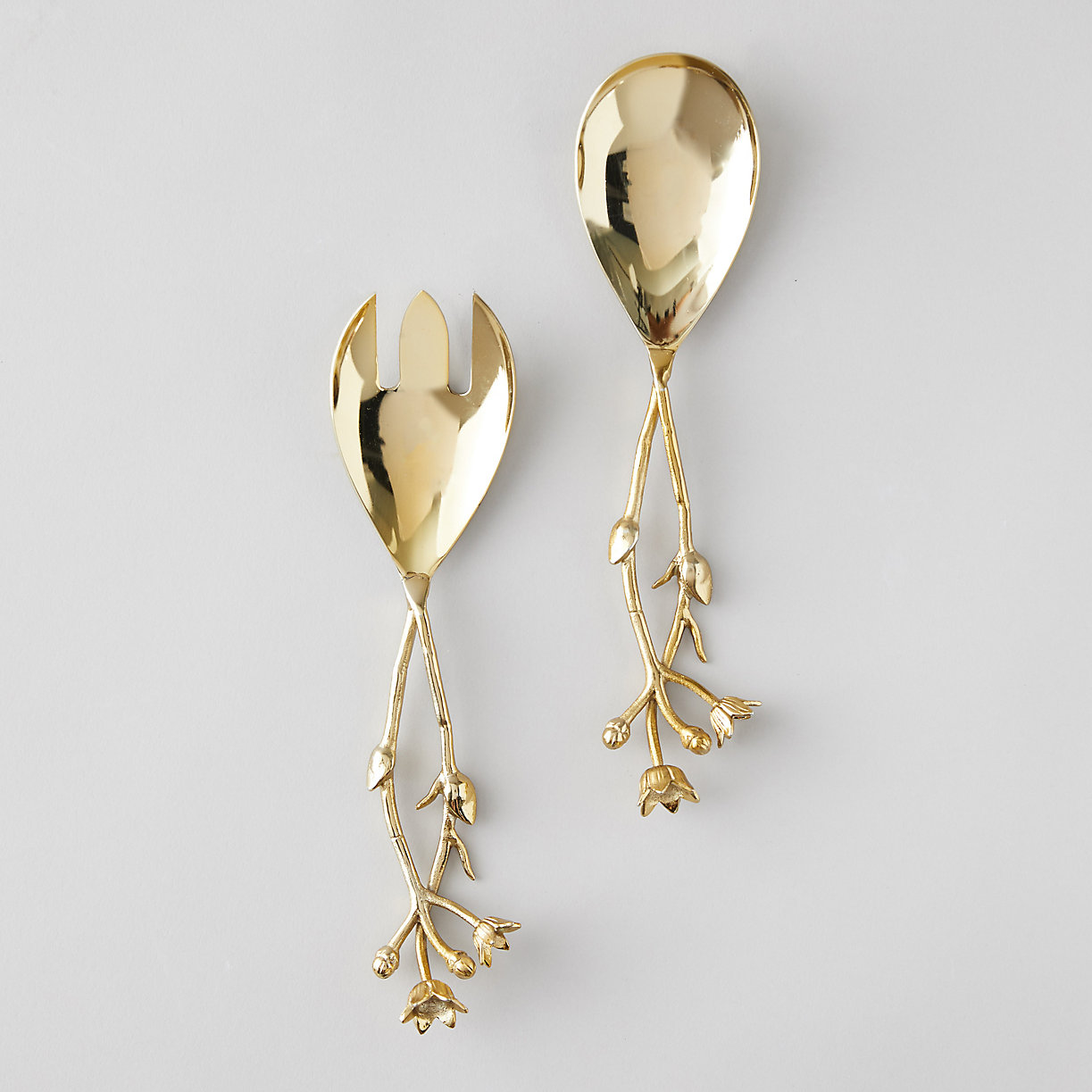 Floral Handle Brass Serving Set