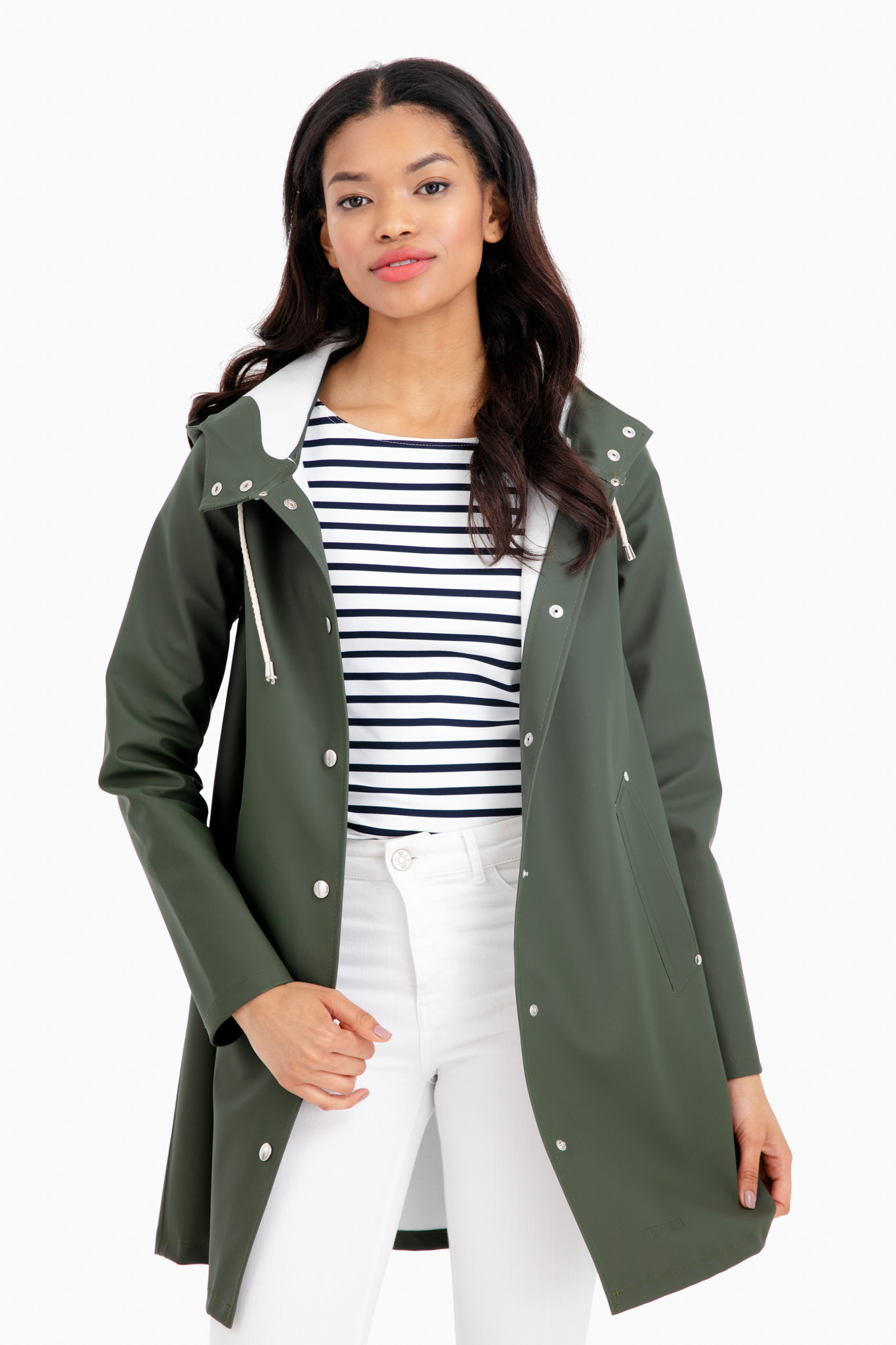 Green Hooded Raincoat with Striped Nautical Top and White Jeans