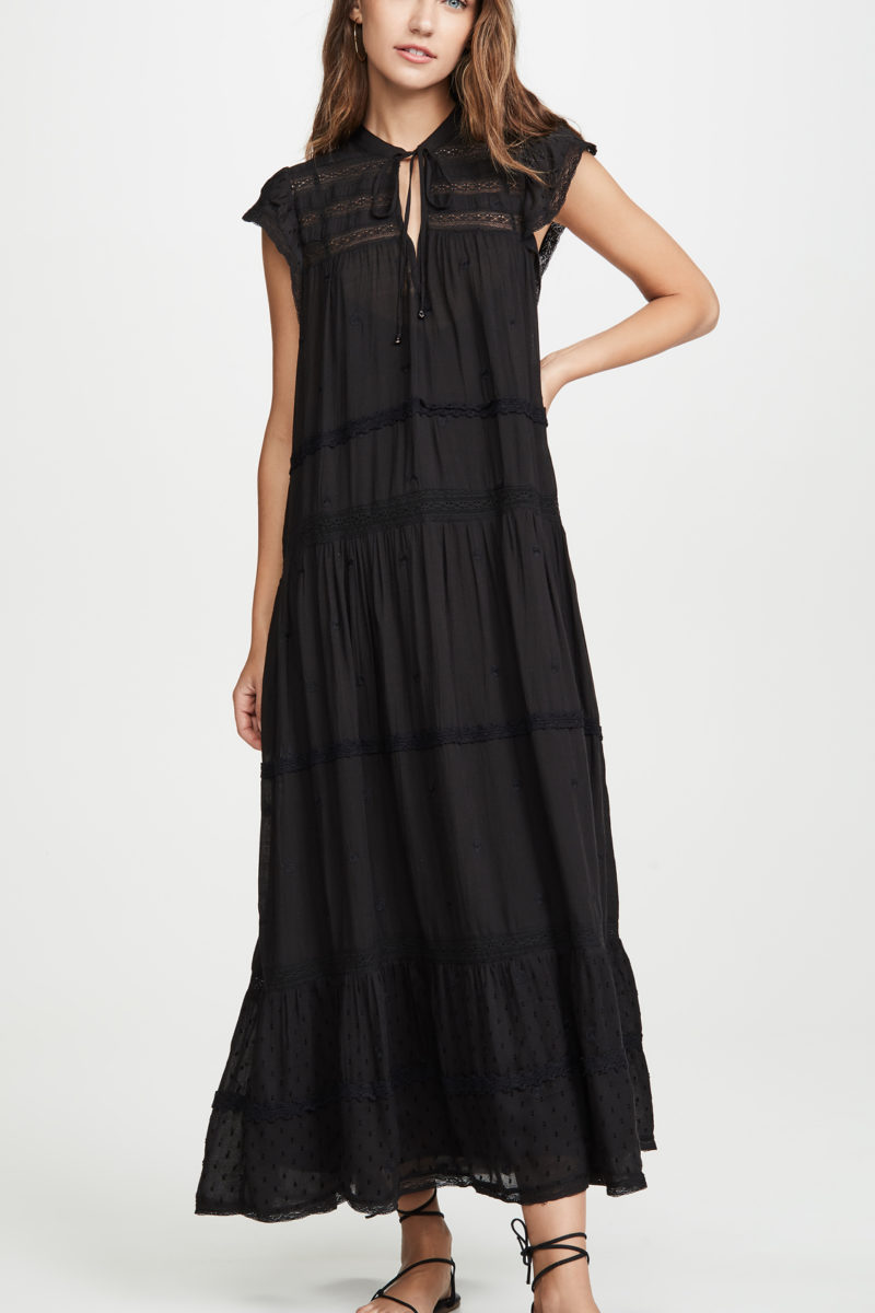 Black Tiered Midi Dress
