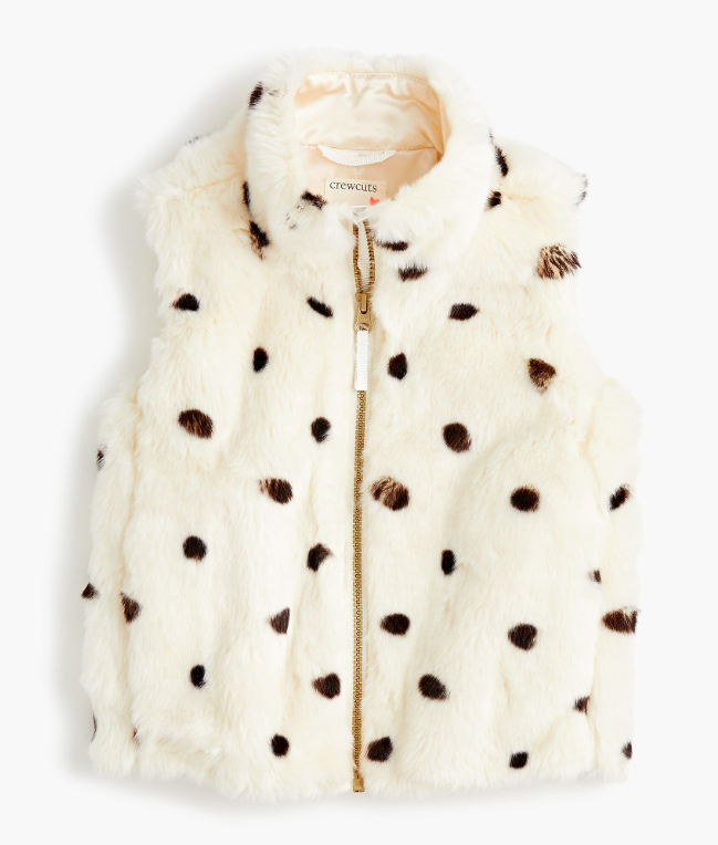Girls' Dotted Faux Fur Vest Black White Spots