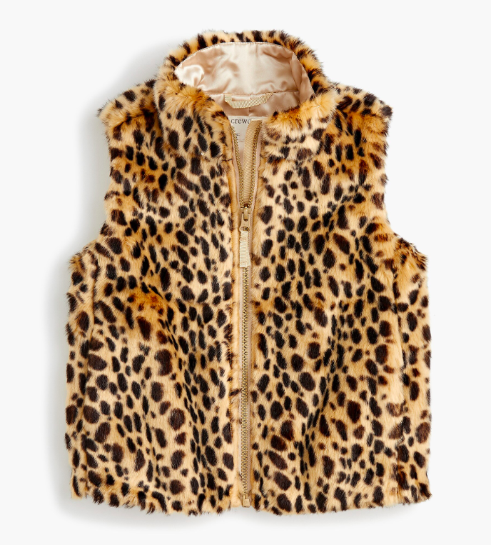 Girls' Leopard Print Faux Fur Vest Kids Cheetah Spots