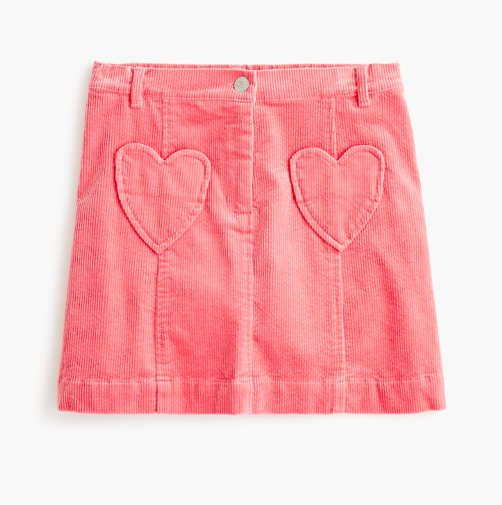 Girls' Corduroy Skirt with Heart Pockets