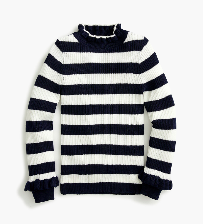 Girls' Ribbed Turtleneck Ruffle Sweater Striped Navy White