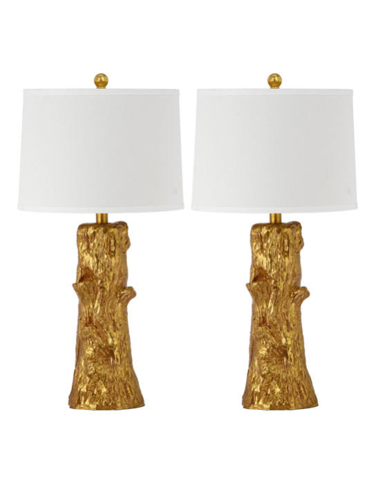Gold Faux Bois Table Lamps Trees