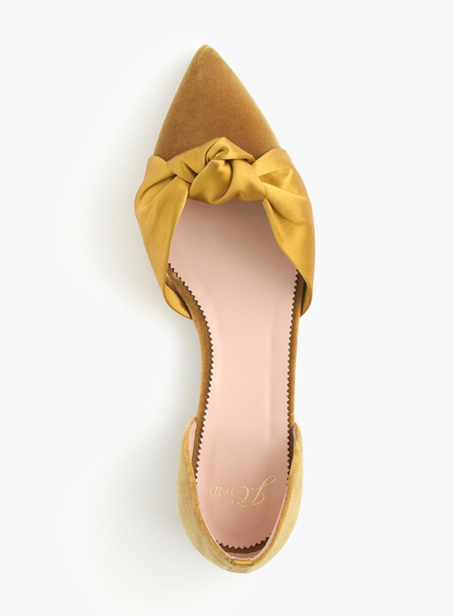 Gold Velvet d'Orsay Flats with Satin Knot