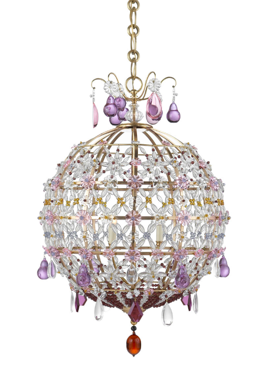 Heather Chandelier Aerin Amethyst Brass