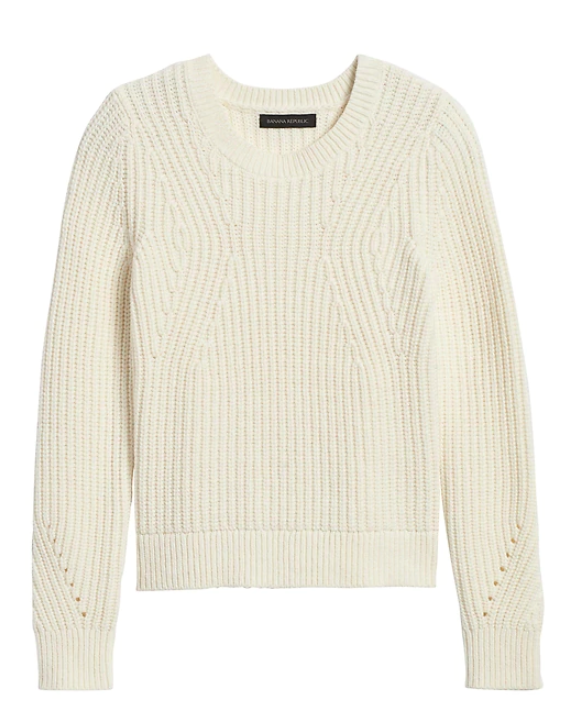 Ivory Chunky Pointelle Sweater