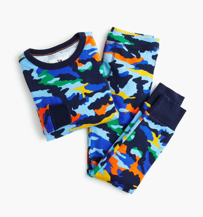 Kids' Pajama Set in Colorful Camo