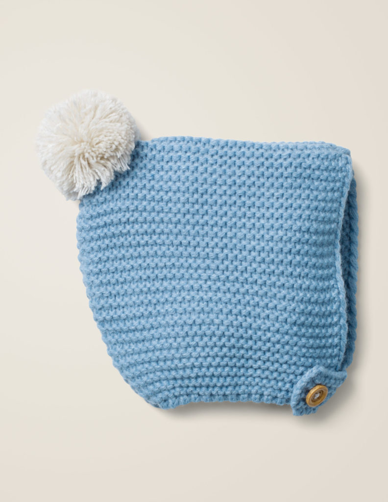 Knitted Blue Baby Bonnet with Pom Pom