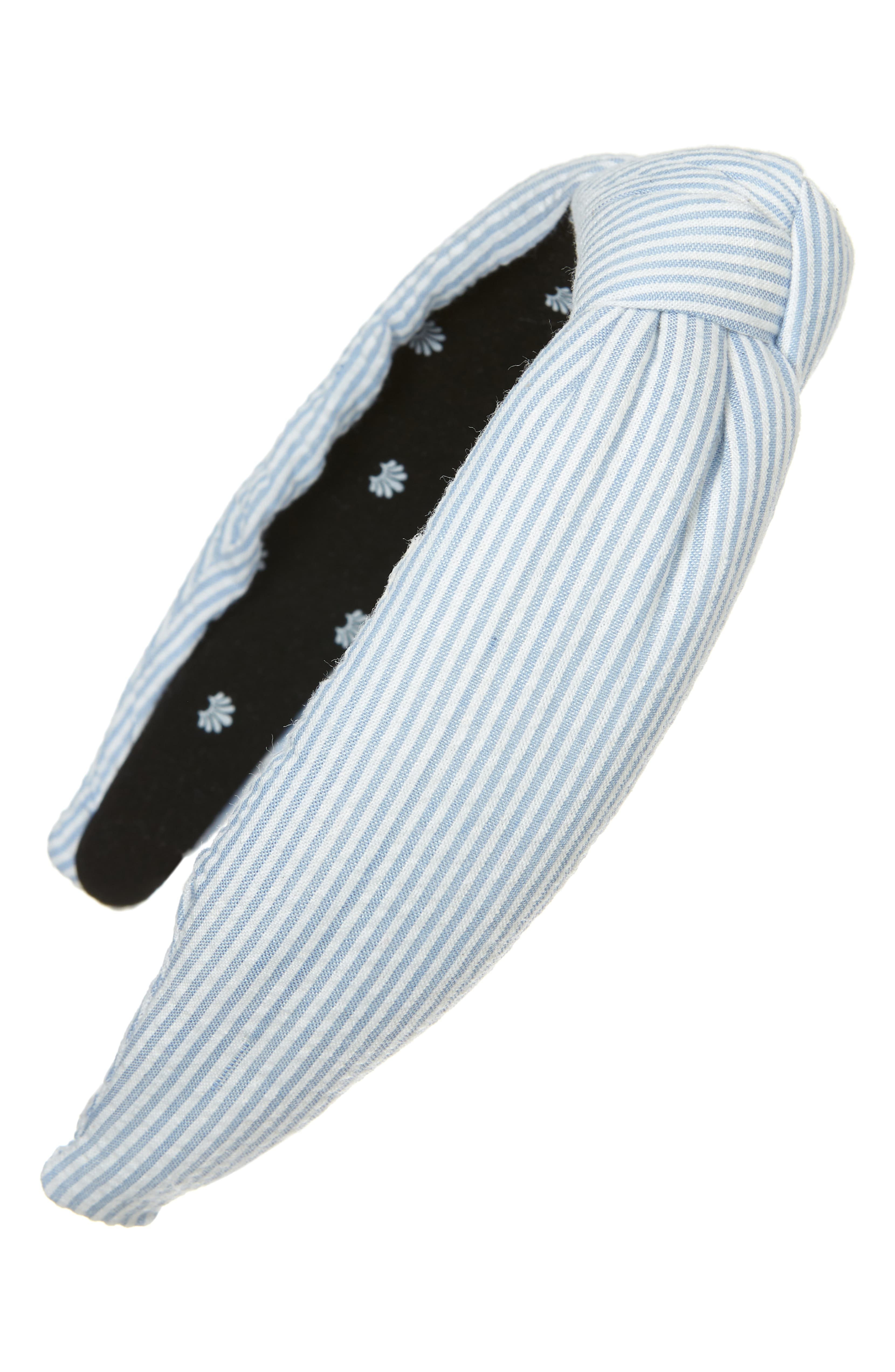 Blue and White Striped Knotted Headband