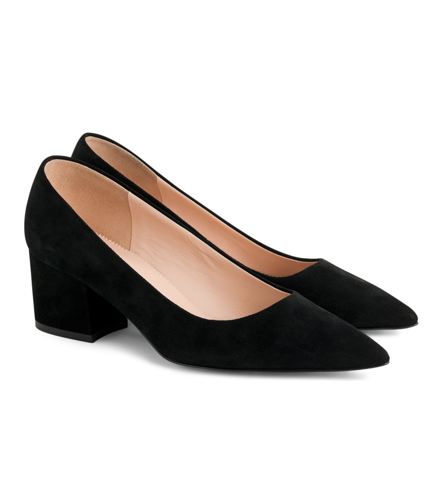 Black Pointed Toe Chunky Heel Suede Pumps