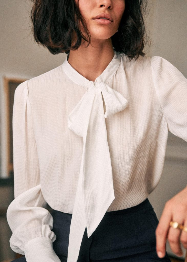 White Silk Bow Blouse