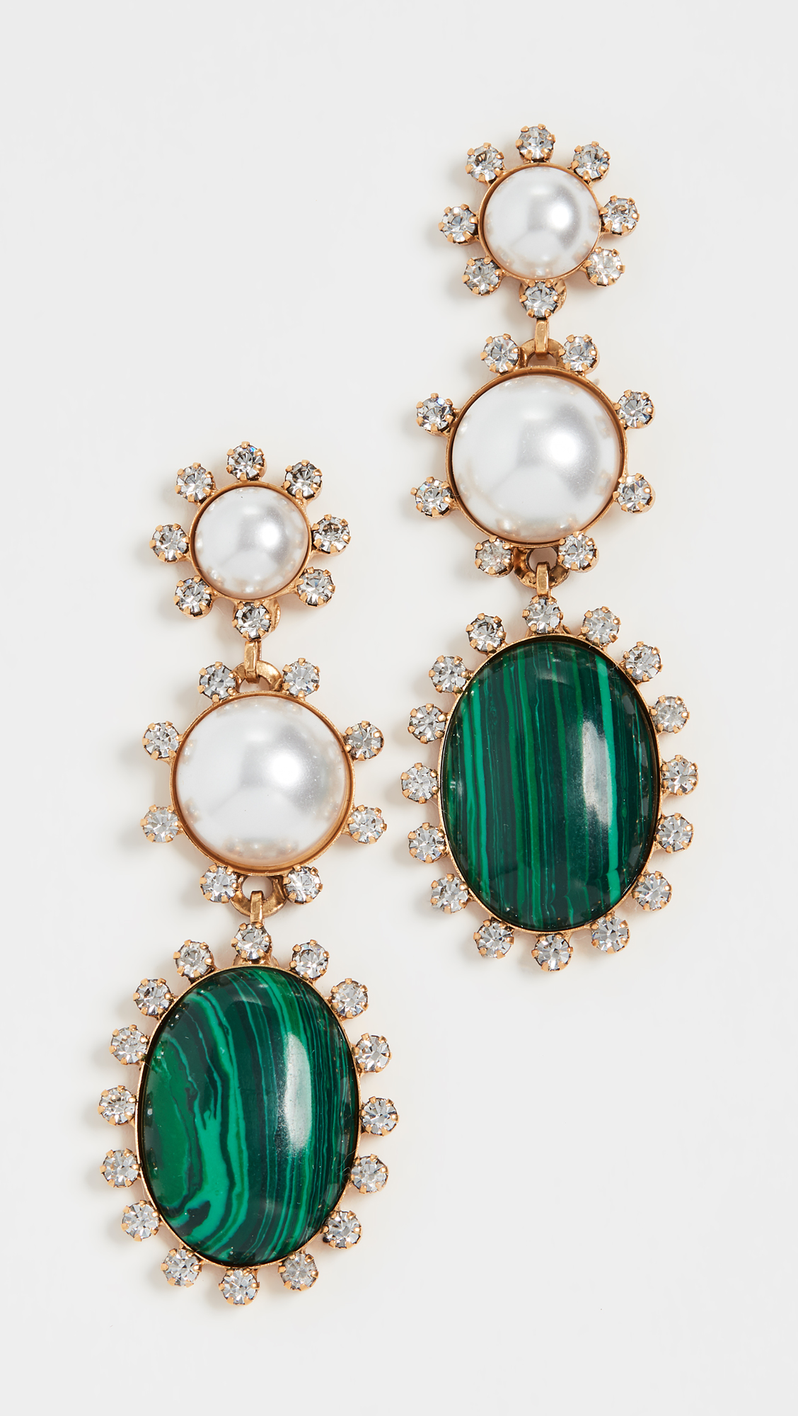Linear Pearl and Green Drop Earrings