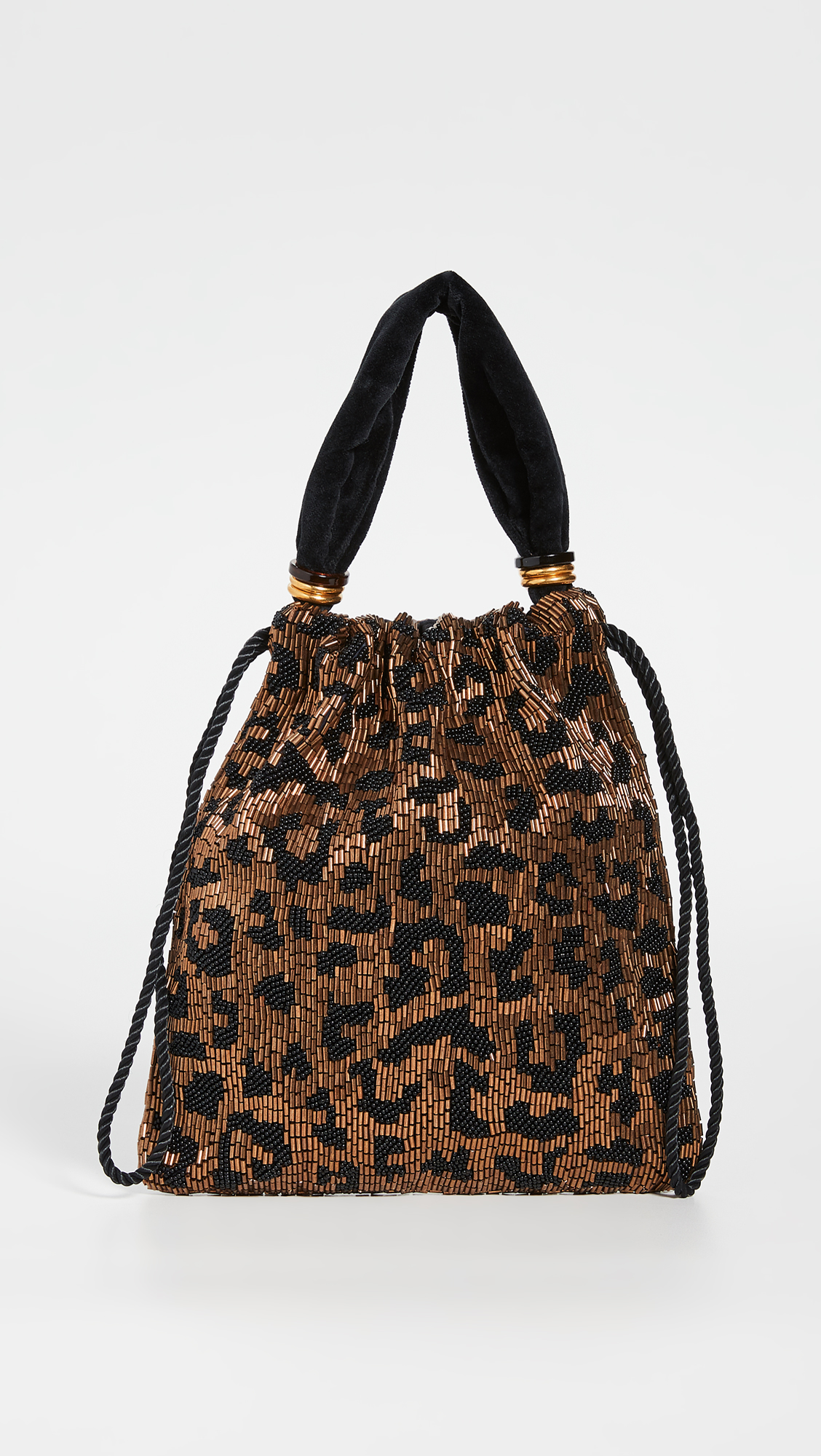 Beaded Leopard Print Drawstring Bag