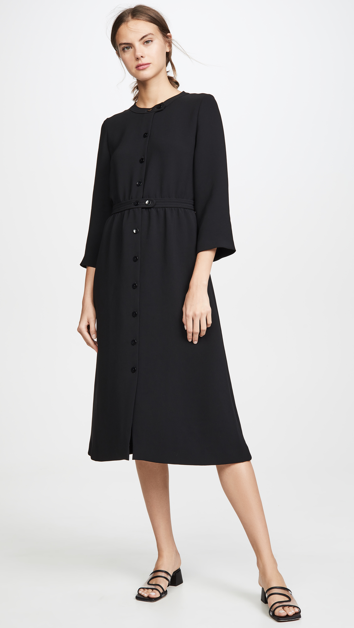 Long Sleeve Button Front Midi Dress