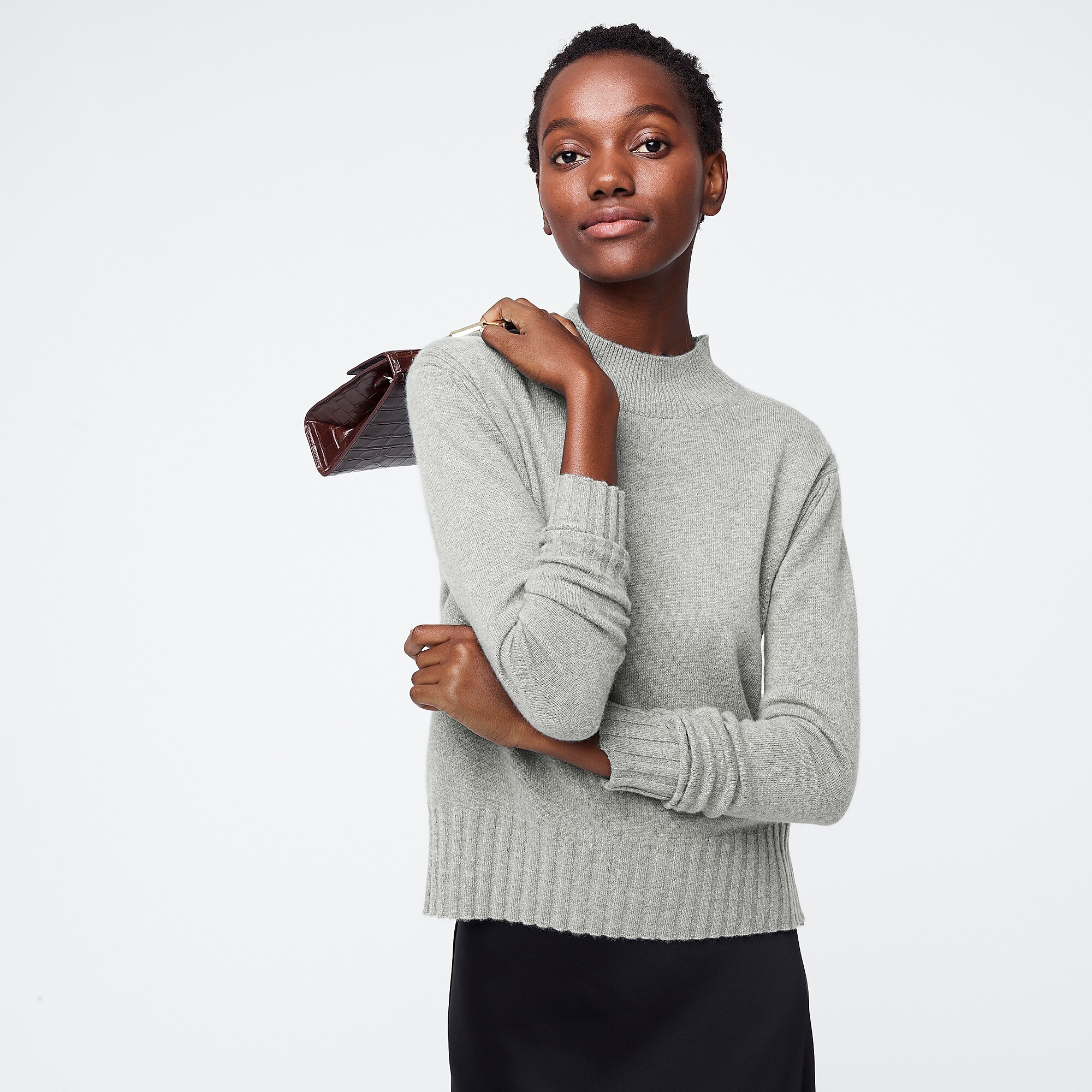 Gray Cashmere Mockneck Sweater