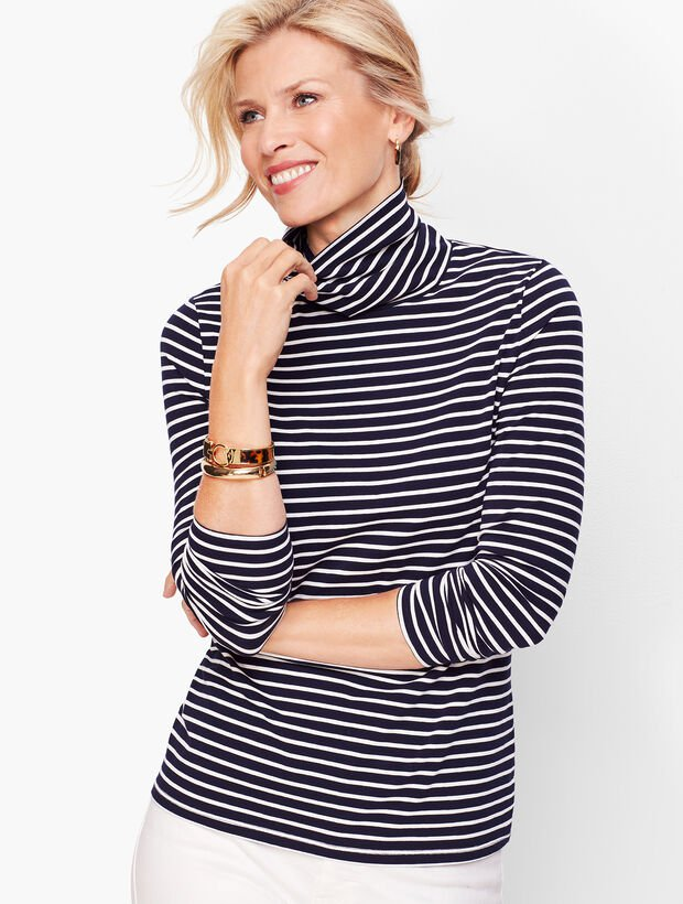 Black and White Striped Turtleneck Sweater