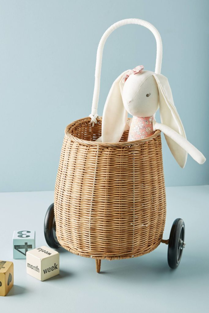 Luggy Basket Wicker Woven Wheels Childrens'