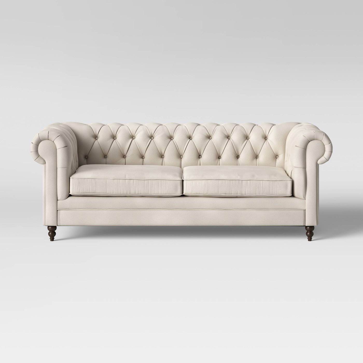 Cream Nailhead Tufted Rolled Arm Sofa