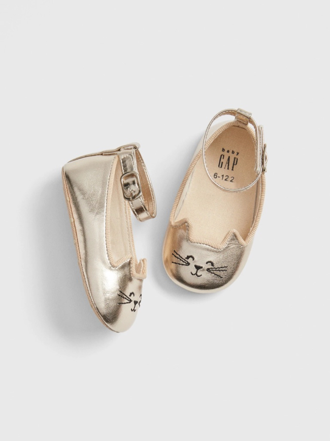 Gold Kitty Cat Flats Baby Girl