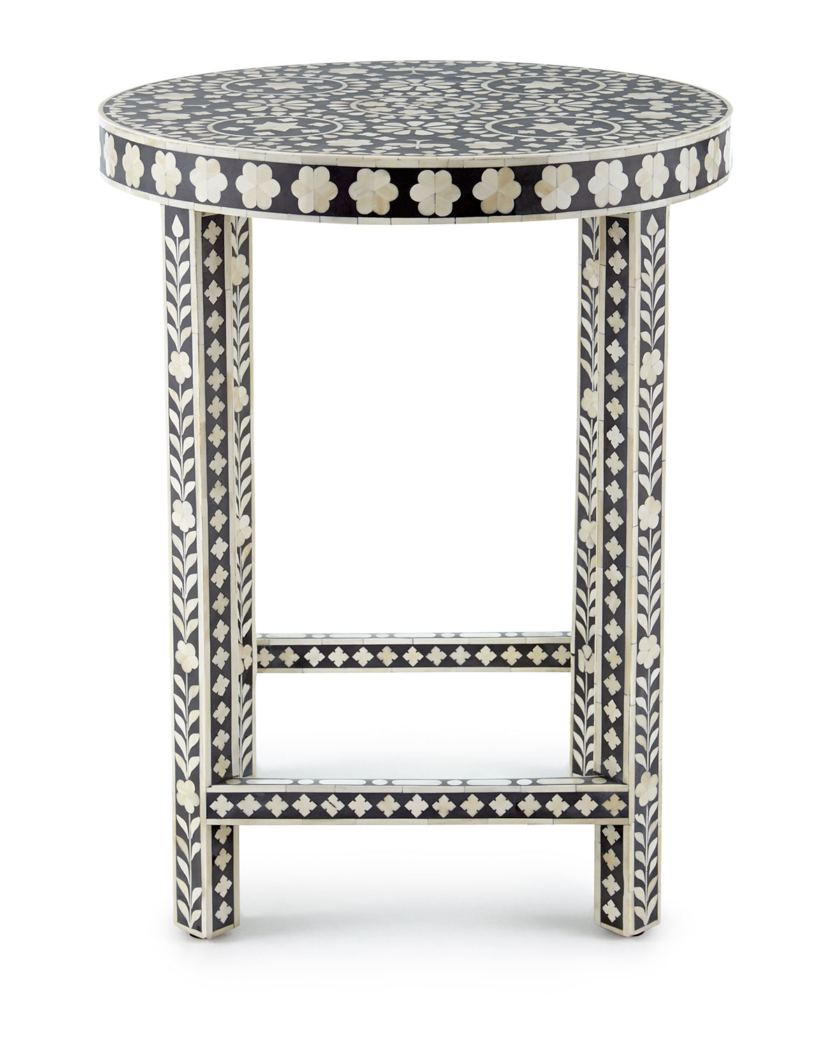 Bone Inlay Mosaic Round Side Table