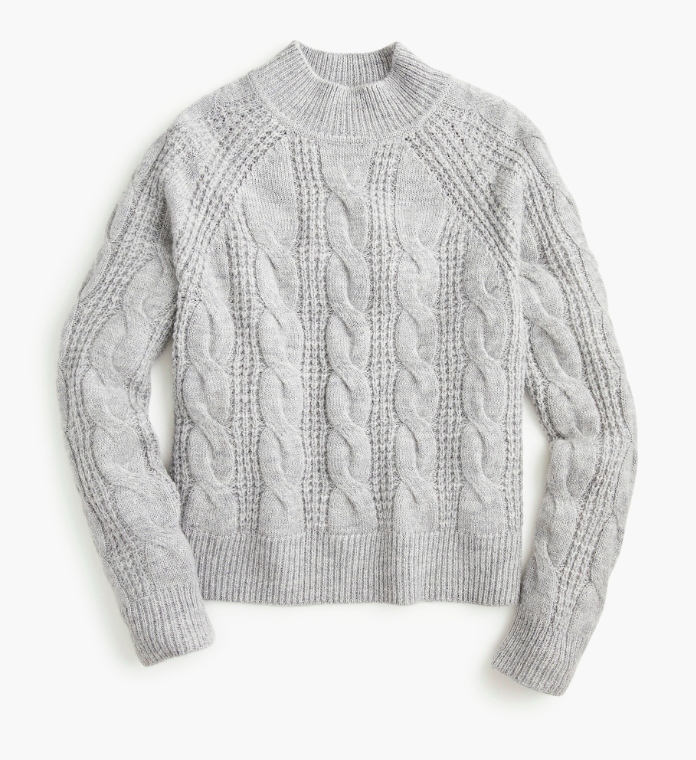 Mockneck Cable Knit Sweater Grey