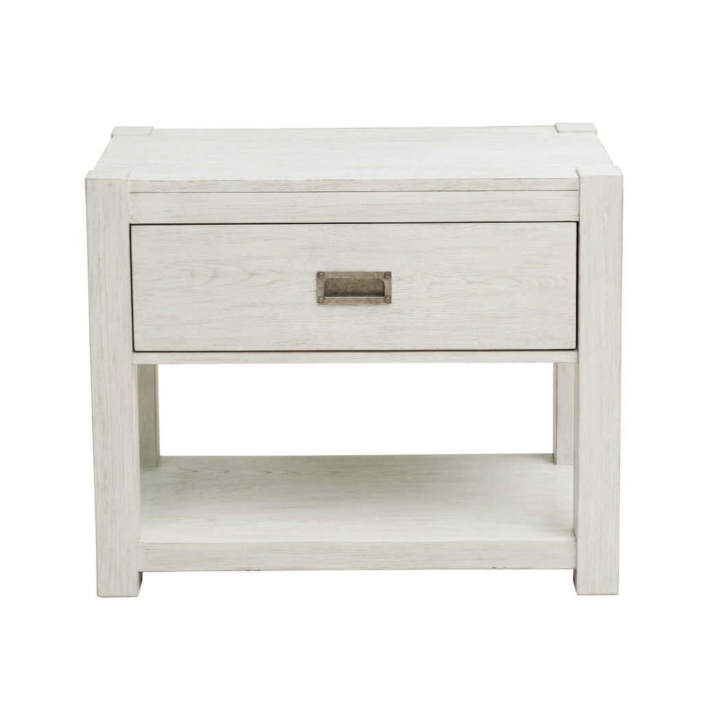 Modern Farmhouse White Wood Nightstand with Drawer