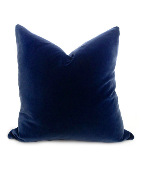 Navy Blue Velvet Throw Pillows