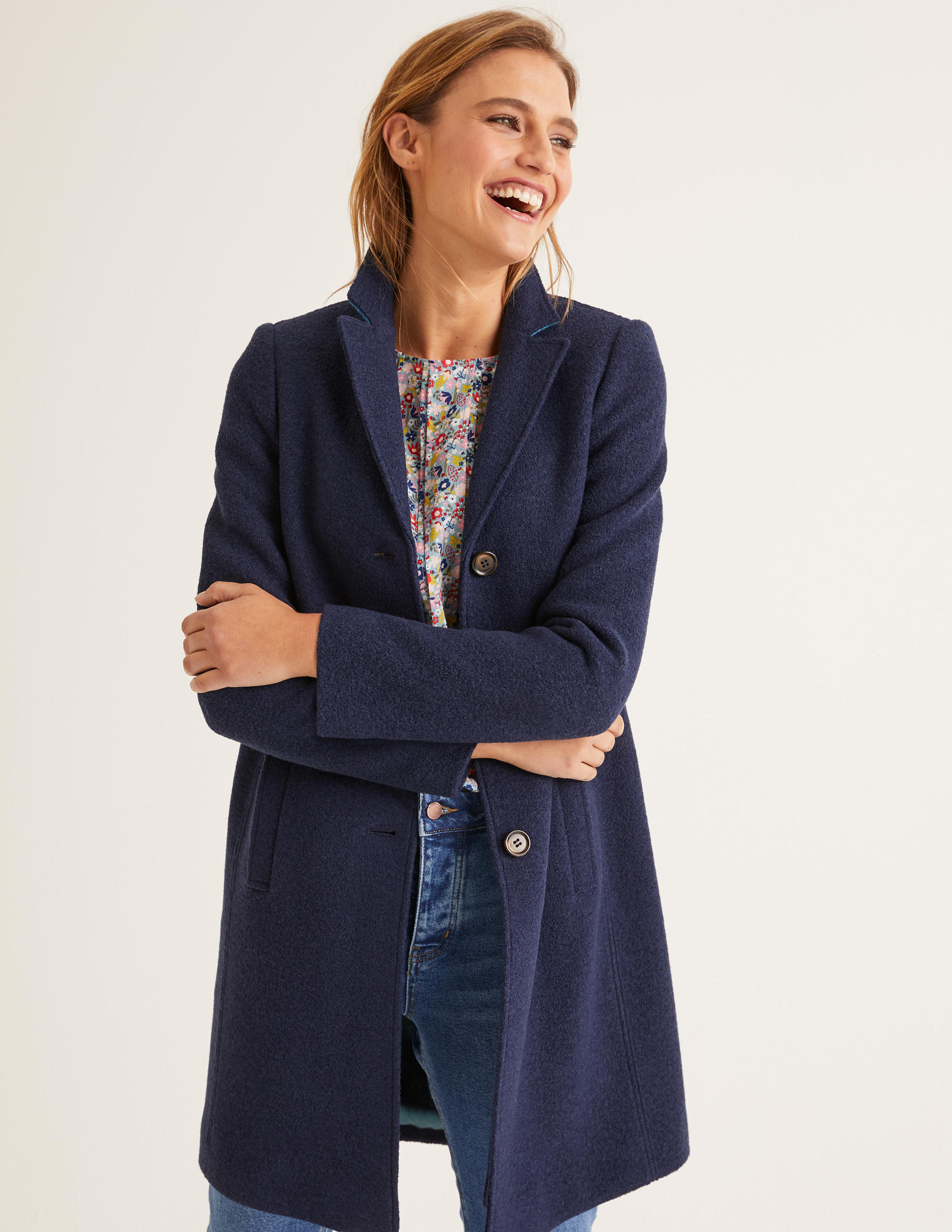 Navy Button Up Wool Coat