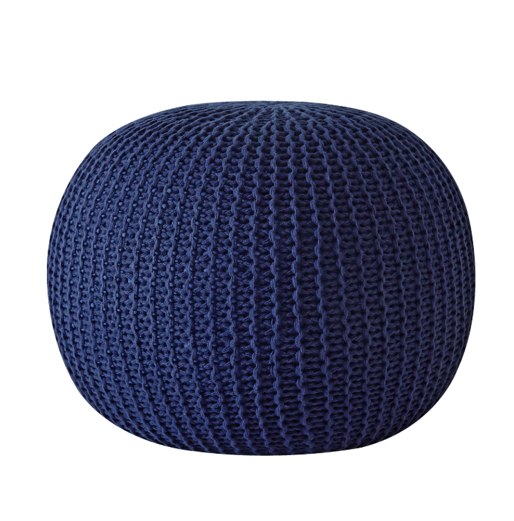 Navy Knit Pouf
