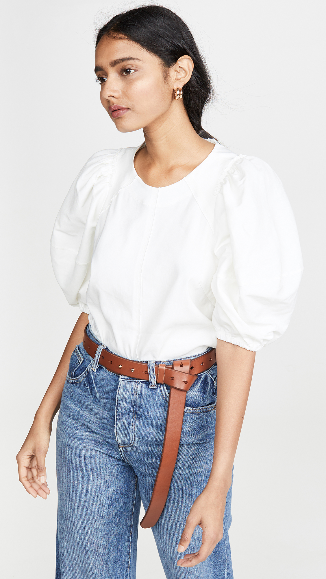 Off White Puff Sleeve Top