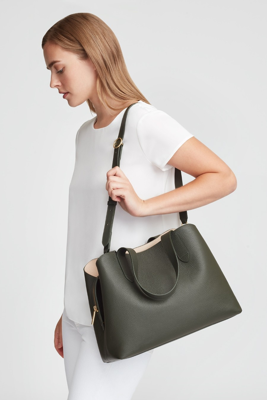 Olive Green Pebbled Leather