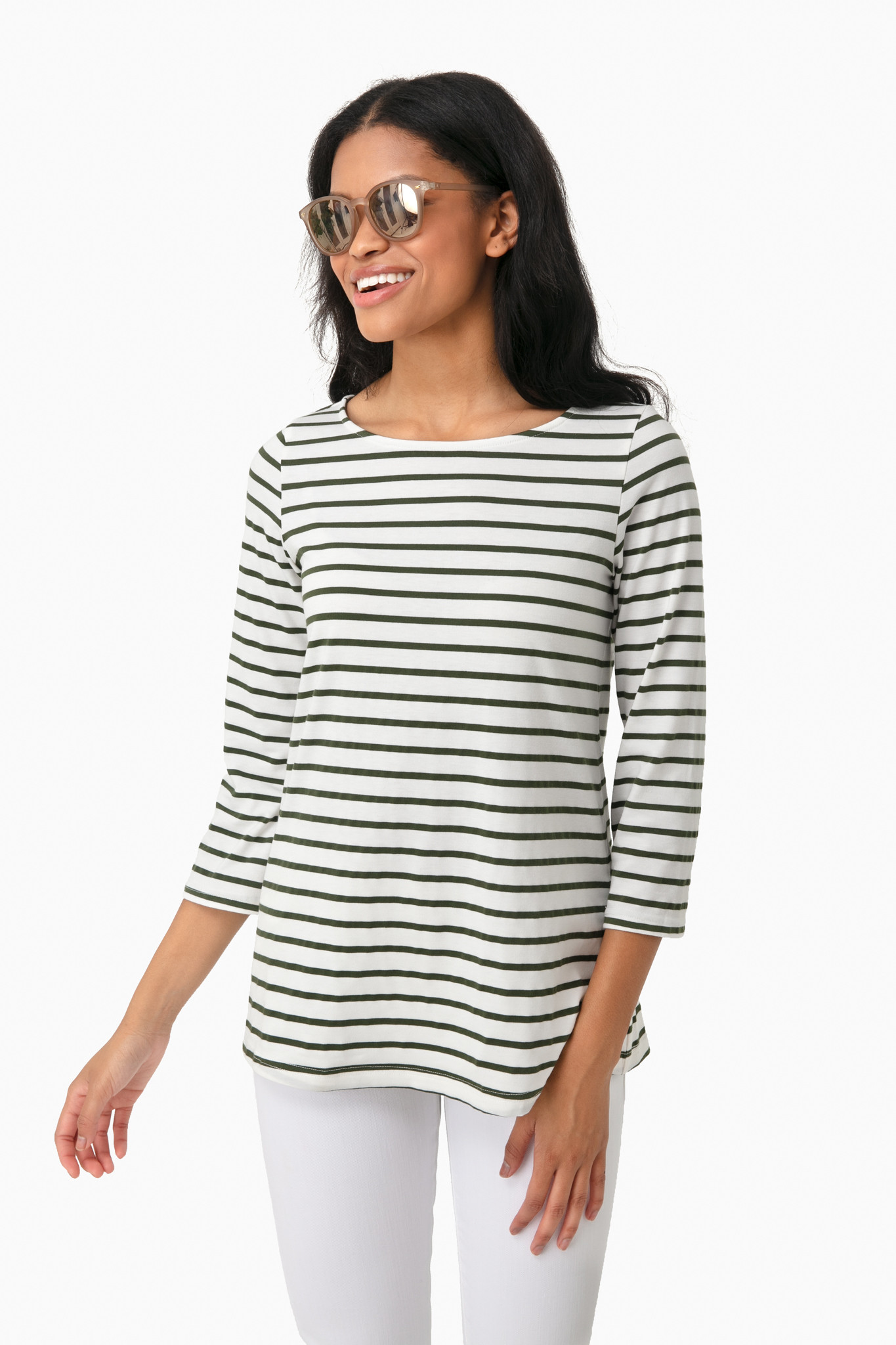 Olive and White Striped Tee