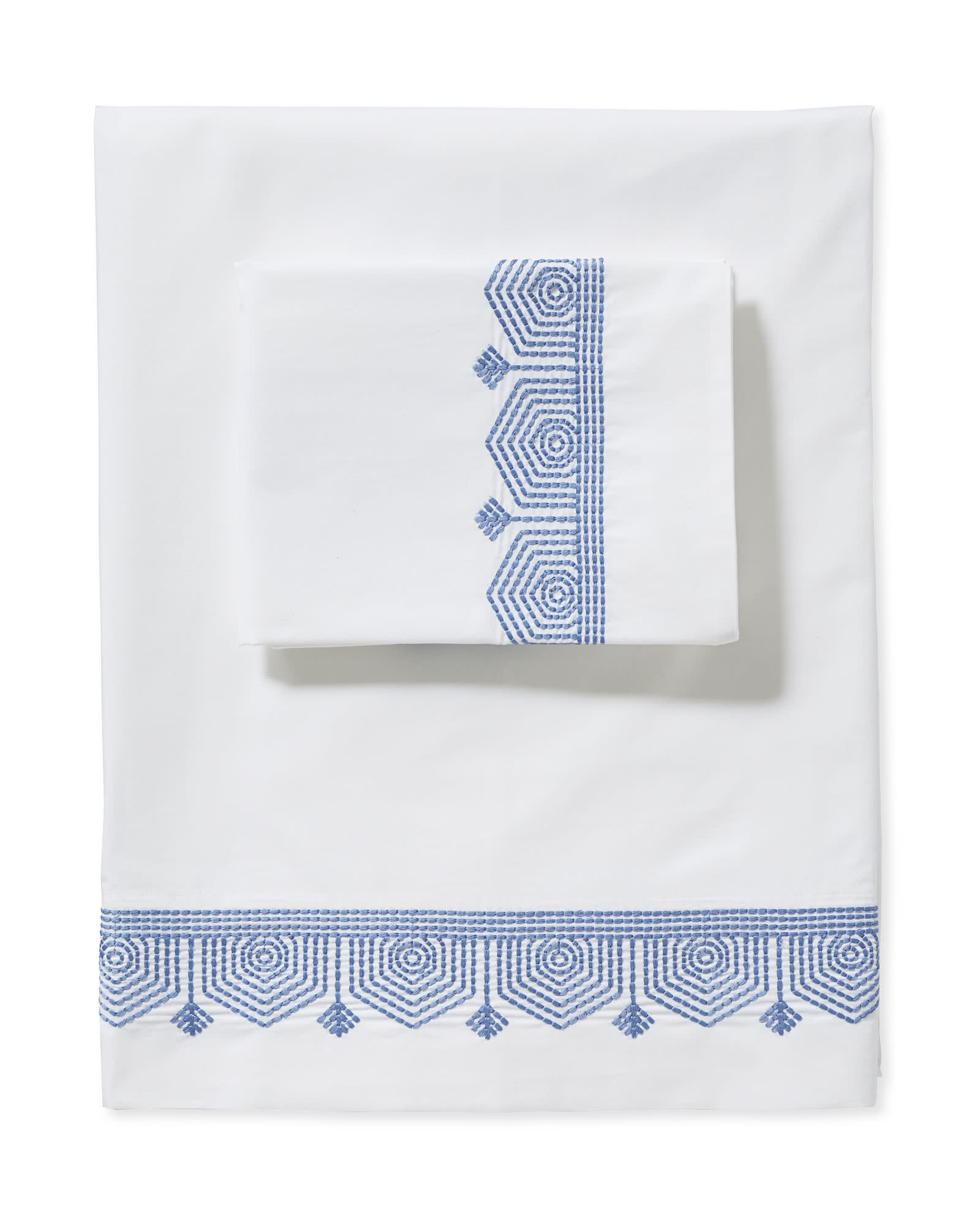 White and Blue Embroidered Sheet Set