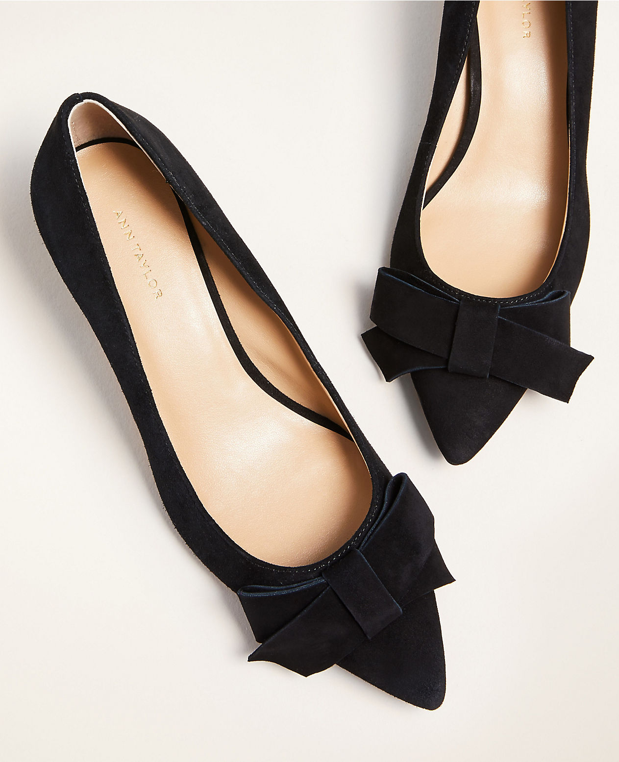 Suede Black Pointed Toe Flats