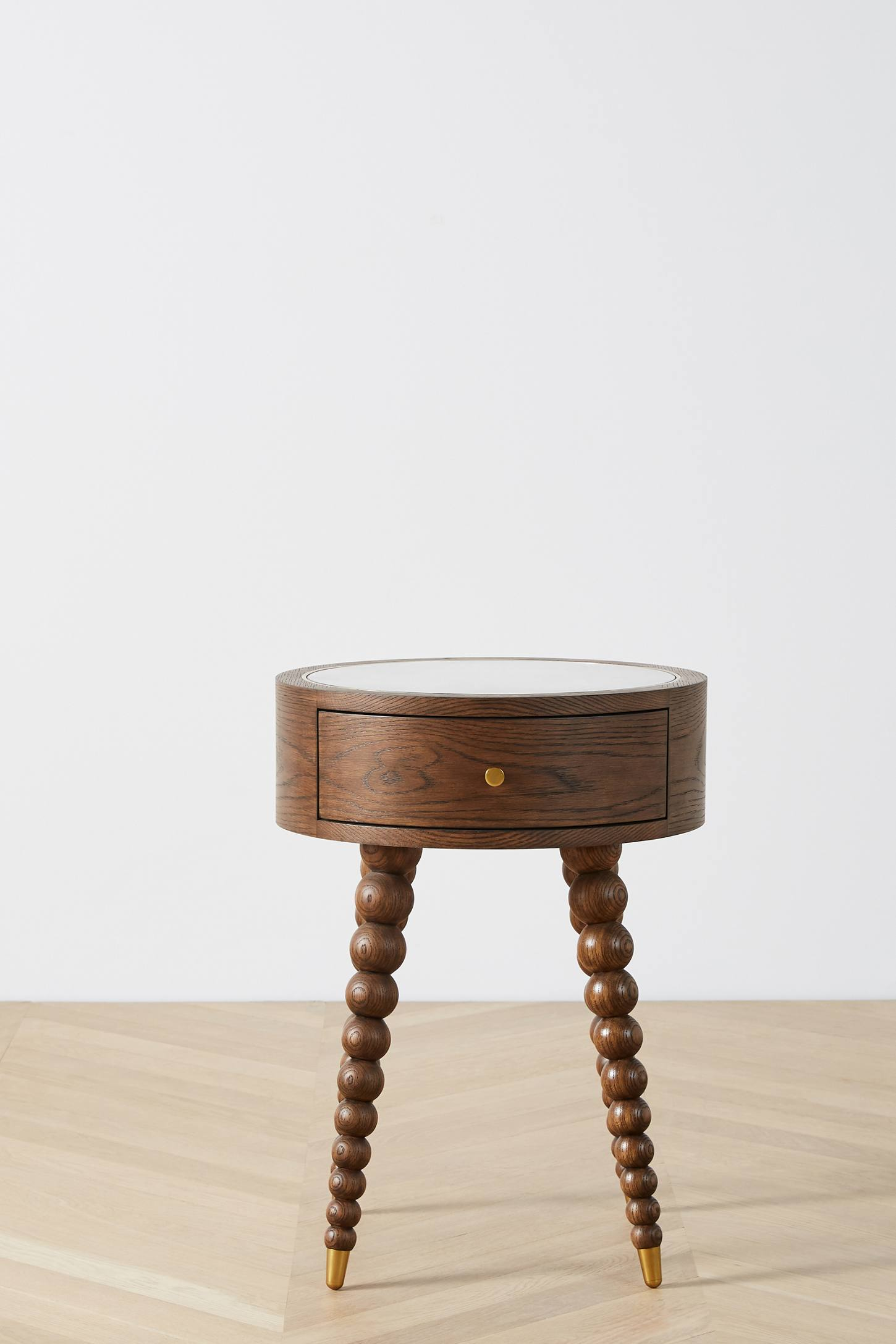Round Beaded Leg Side Table