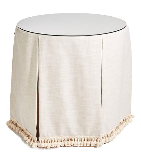 Round Skirted Table with Pleats and Tassel Trim