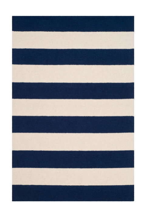 Rugby Stripes Area Rug Navy Blue White