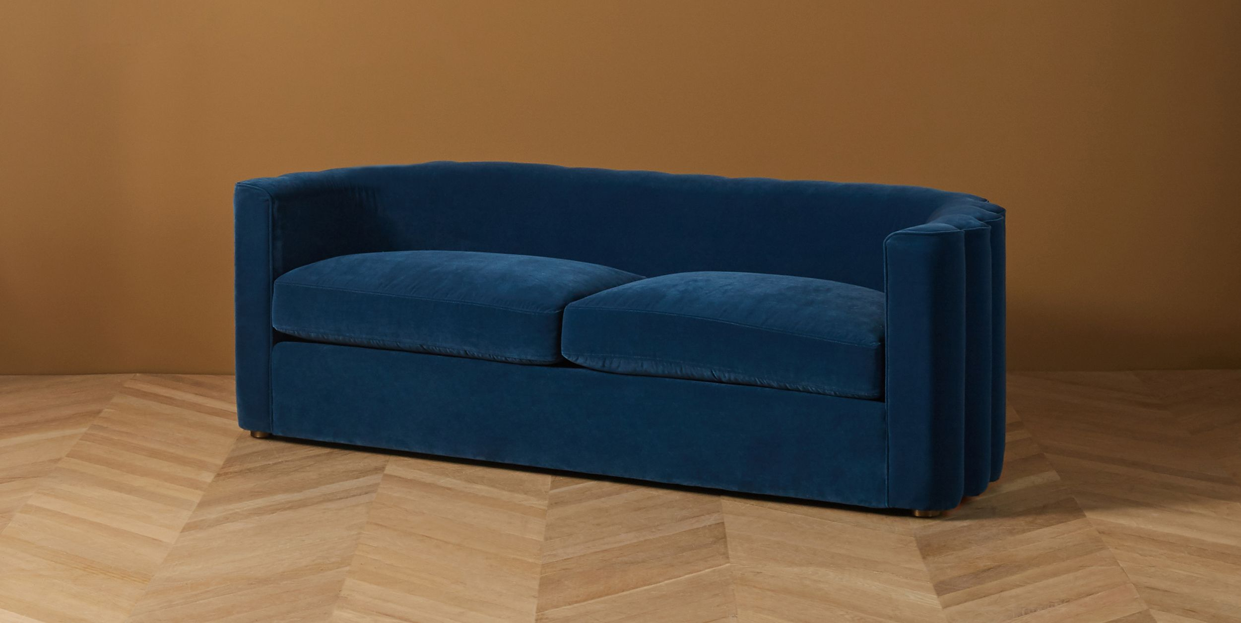 Scalloped Back Curved Sofa
