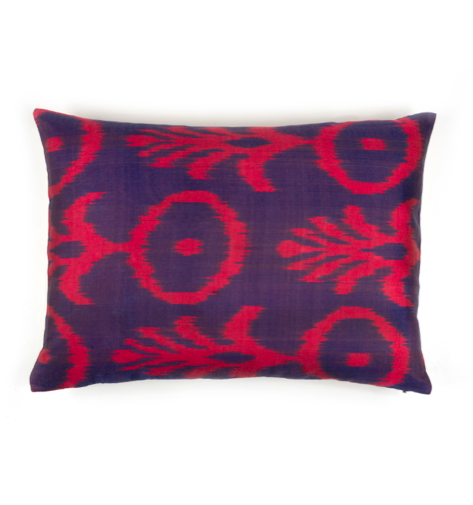 Silk Ikat Pillow Red Purple