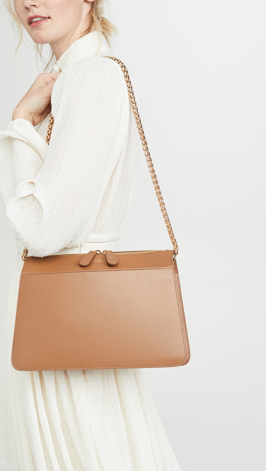 Smooth Leather Gold Chain Brown Purse