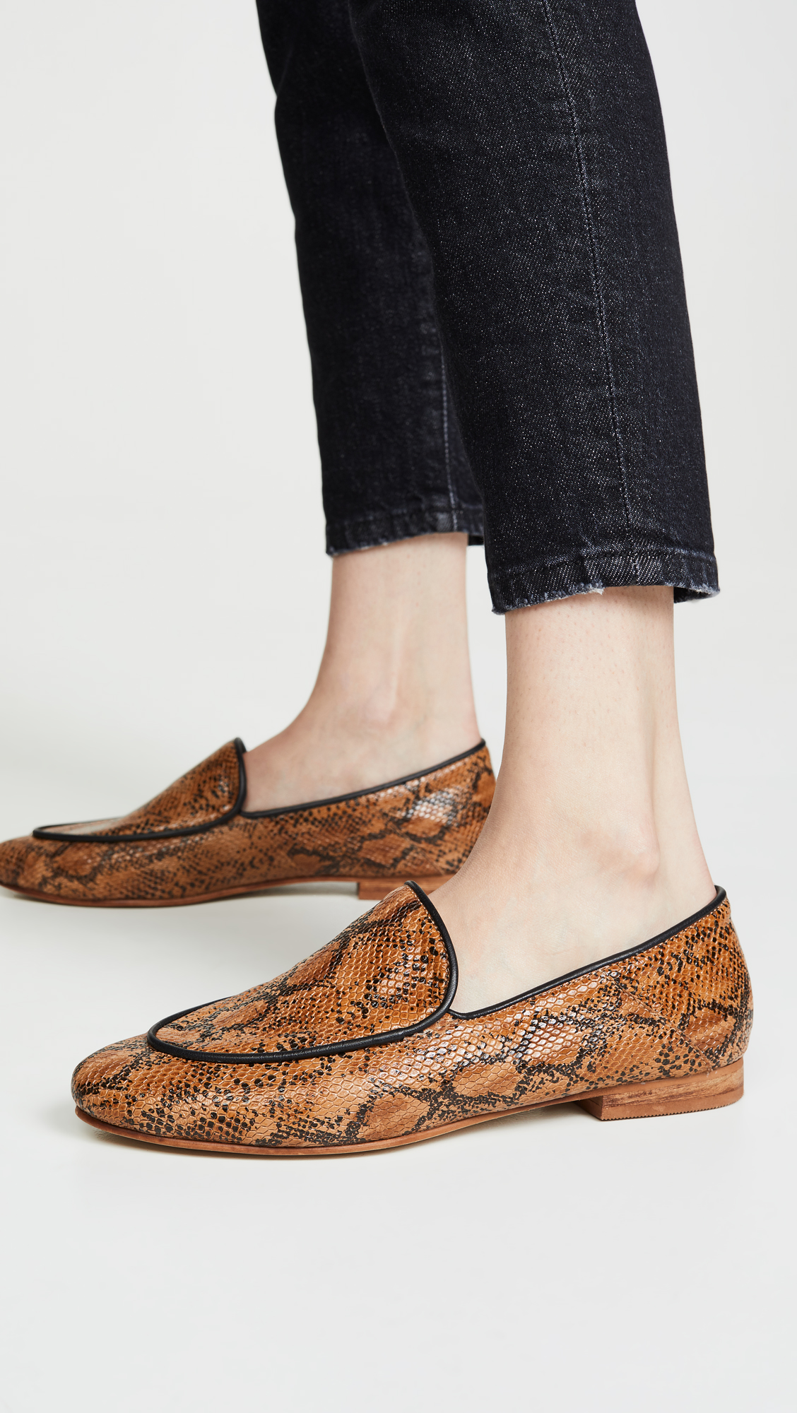 Snake Embossed Leather Loafers