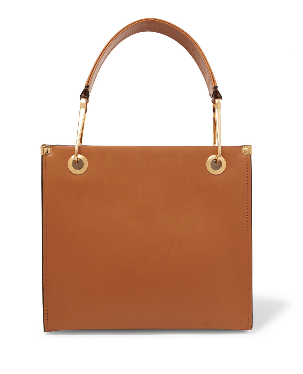 Brown Square Leather Tote