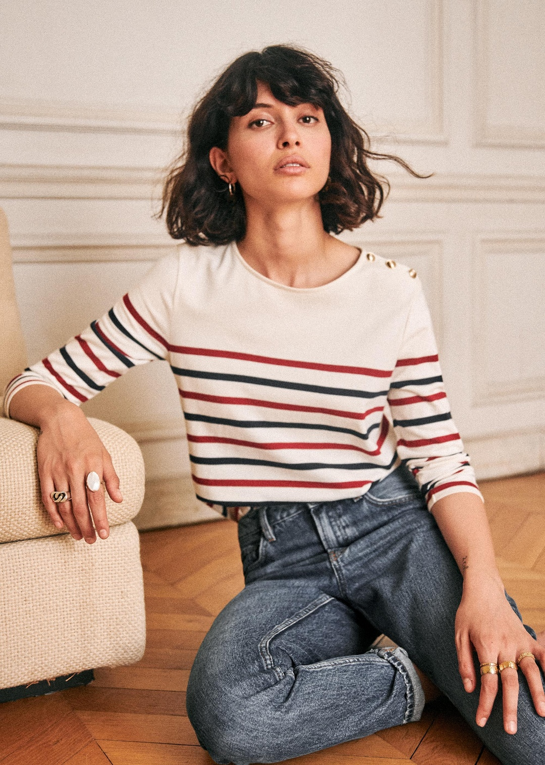 Striped Jersey Sailor Top