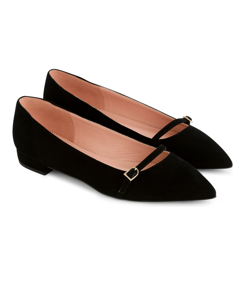 Suede Pointed Toe Ballet Flats